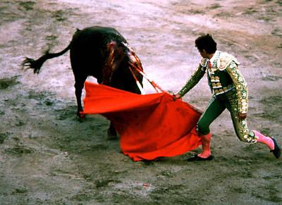 Photograph - Bullfight - Toro Buries Head by Robert  Rodvik
