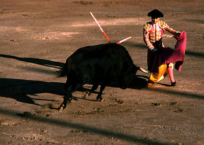 Photograph - Bullfight - Toro Charges by Robert  Rodvik