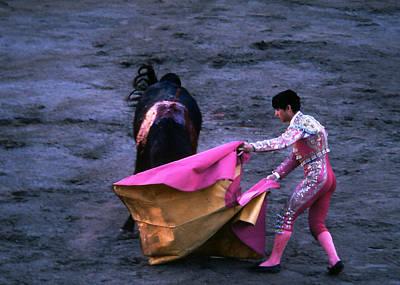 Photograph - Bullfight Waving Pink Cape by Robert  Rodvik