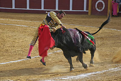 Bullfighter Manuel Ponce Performing The Estocada To Kill The Bull Art Print by Perry Van Munster