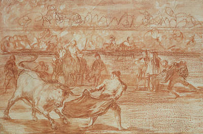 Red Gown Drawing - Bullfighting by Goya