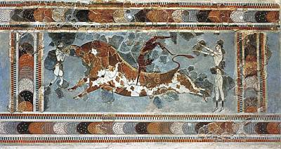 Bullfighting Scene. Ca. 1500 Bc. Fresco Art Print by Everett