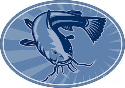Bullheaded Digital Art - Bullhead Catfish Retro Woodcut by Aloysius Patrimonio