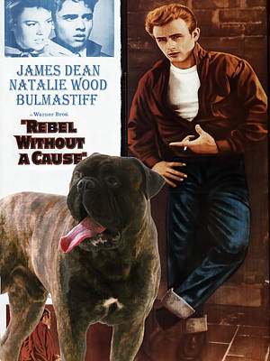 Coy Fish Michael Creese Paintings - Bullmastiff Art Canvas Print - Rebel without a Cause Movie Poster by Sandra Sij