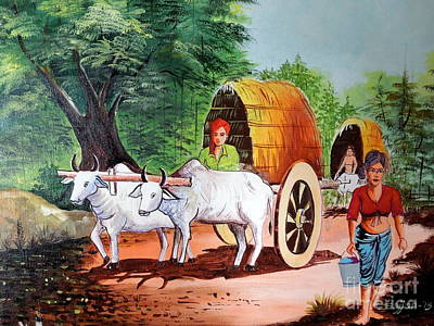 Bullock-cart Painting - Bullock Cart by Sajjan Chopra