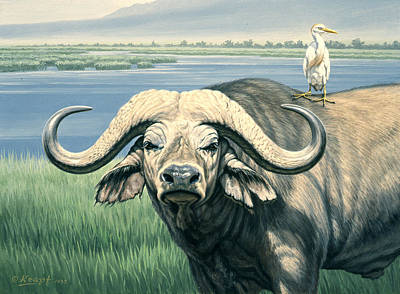 Egret Painting - 'bullrider'   by Paul Krapf