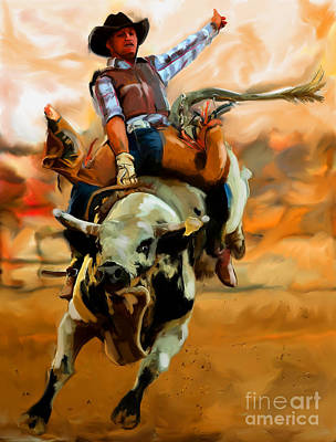 Painting - Bullriding-001 by Tim Gilliland