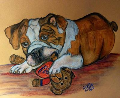 Mascot Drawing - Bully's Teddy Bear by Angela Foster