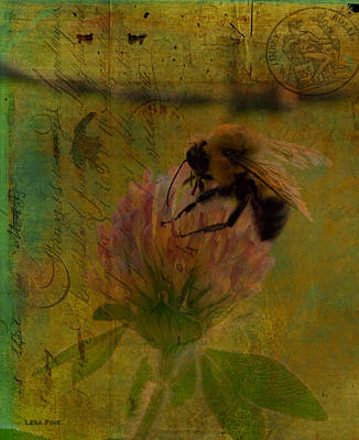 Photograph - Bumble Bee Post Card 2 by Lesa Fine