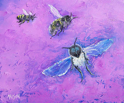 Pink And Purple Painting - Bumble Bees by Jan Matson