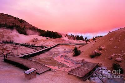 Photograph - Bumpass Hell Sunset by Adam Jewell
