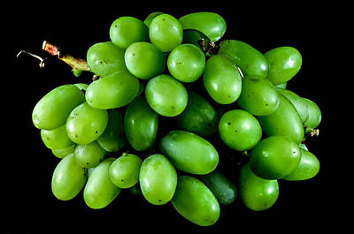 Photograph - Bunch Of Green Grapes On A Black Background by Alex Grichenko