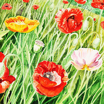 Bunch Of Poppies I Art Print