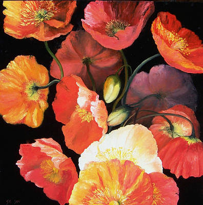 Color On Black Painting - Bunch Of Poppies by Jan Matson