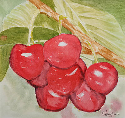 Bunch Of Red Cherries Art Print by Elvira Ingram