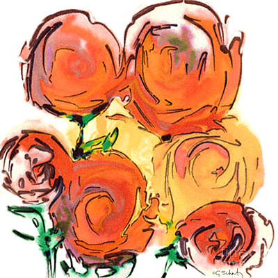 Art Print featuring the digital art Bunch Of Roses by Gabrielle Schertz