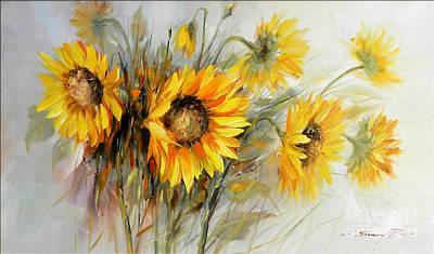 Bunch Of Sunflowers Print by Petrica Sincu