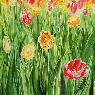 Tulips Watercolor Wall Art - Painting - Bunch Of Tulips II by Irina Sztukowski