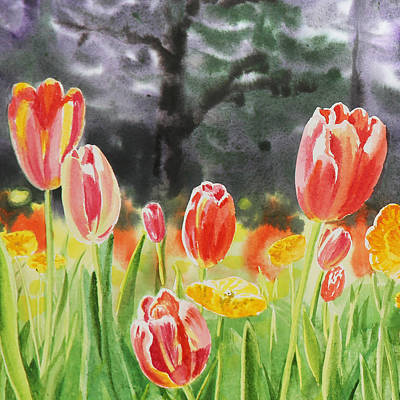 Tulips Watercolor Wall Art - Painting - Bunch Of Tulips IIi by Irina Sztukowski