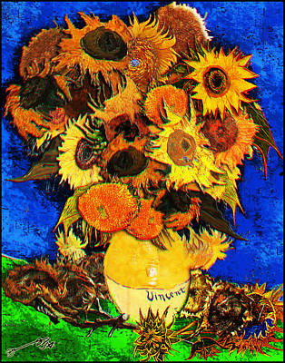 Still Life Drawings - Bunch of Vincents Sunflowers by Jose A Gonzalez Jr
