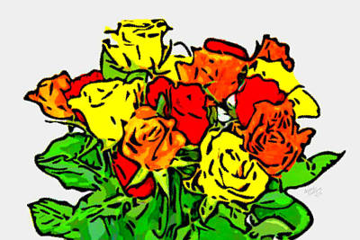 Flower Painting - Bunches Of Roses by Bruce Nutting