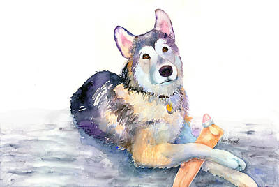 Husky Puppy Painting - Bundle Of Joy by Renee Chastant