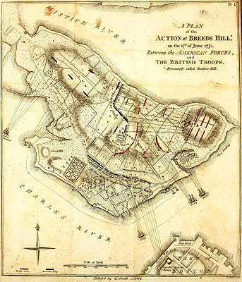 Prescott Drawing - Bunker Hill - Map by Charlie Ross