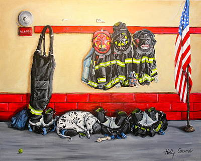 Fire Gear Painting - Bunkered Down by Holly Connors