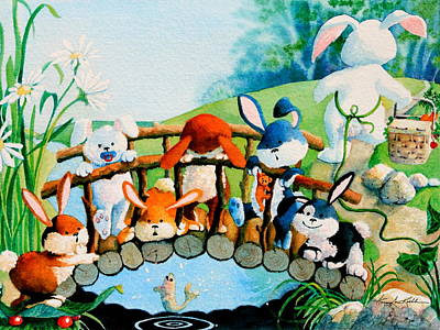 Bunnies On A Bridge Original by Hanne Lore Koehler
