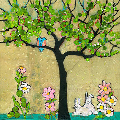 Spring Bird Painting - Bunnies And Birds Tree by Blenda Studio