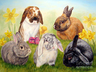 Daffodils Painting - Bunnies And Daffodils by Tom Chapman