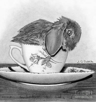 Ceramic Art Drawing - Bunny In A Tea Cup by Sarah Batalka