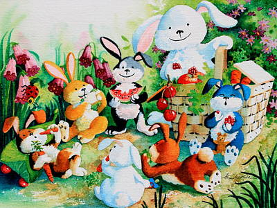 Baby In Basket Painting - Bunny Picnic by Hanne Lore Koehler