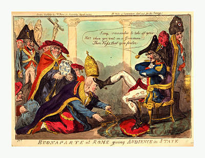 Buonaparte At Rome Giving Audience In State, Cruikshank Art Print by Litz Collection