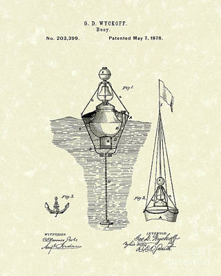 Drawing - Buoy 1878 Patent Art by Prior Art Design