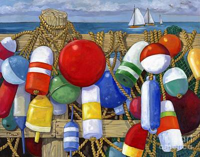 Blue Sailboat Painting - Buoy Composition by Paul Brent