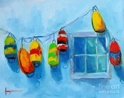 Blue Bouys Painting - Painted Buoys And Boat Floats  by Patricia Awapara