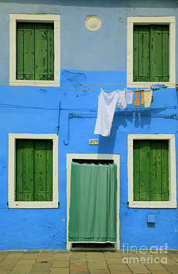 Burano Blue And Green Print by Inge Johnsson