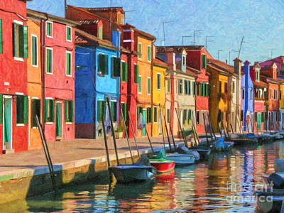Digital Art - Burano Canal by Liz Leyden