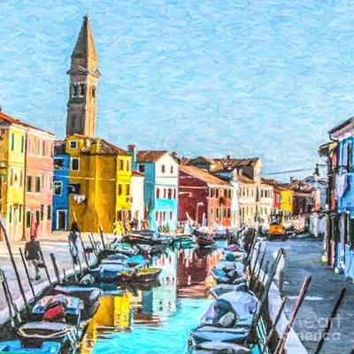 Digital Art - Burano Canal by Liz Leyden