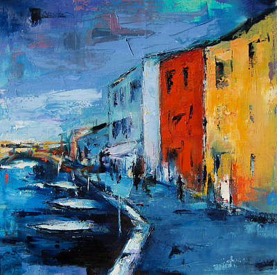 Colorful Houses Painting - Burano Canal - Venice by Elise Palmigiani