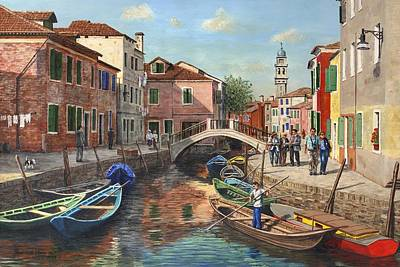 Canal Painting - Burano Canal Venice by Richard Harpum