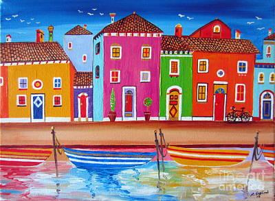Burano Fishermen Village Art Print by Roberto Gagliardi