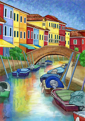 Painting - Colorful Burano Italy by Jennifer Allison