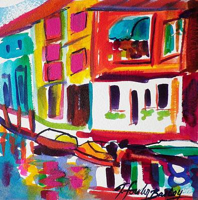 Burano Italy Side Street Sold Original Art Print by Therese Fowler-Bailey