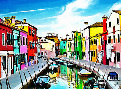 Painting - Burano - Venice - Italy by Ze  Di