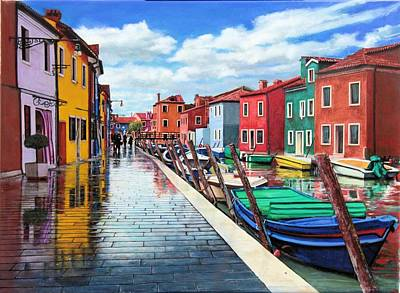 Painting - Burano War Of Colors by Richard Barone