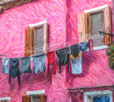 Digital Art - Burano Washing Line Venice Italy by Liz Leyden