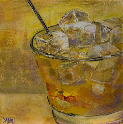 Martini Painting Royalty Free Images - Burbon on the Rocks Royalty-Free Image by Sue  Darius
