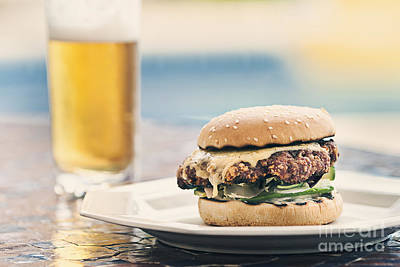 Burger And Beer Art Print by Justin Paget